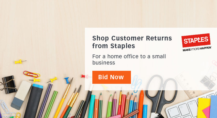 Sourced directly from Staples, find liquidated inventory from office supplies to signage