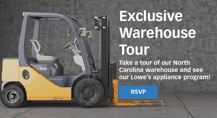 Get an exclusive viewing into our Liquidation.com warehouse in North Carolina to see our new and exciting Lowe's appliance products as well as our other valued programs.